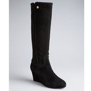Tory Burch Black Suede Irene Wedge Boots Size 8